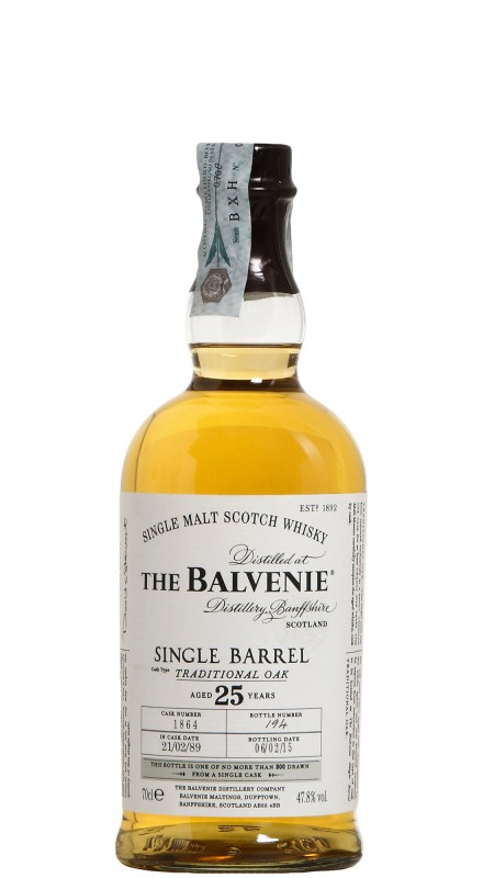 Balvenie 25 Y.O. Single Barrel Traditional Oak Single Malt Whisky